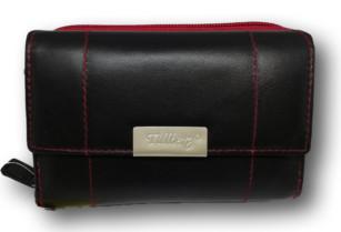 Černo-červená dámská kožená peněženka Tillberg s červenou nití